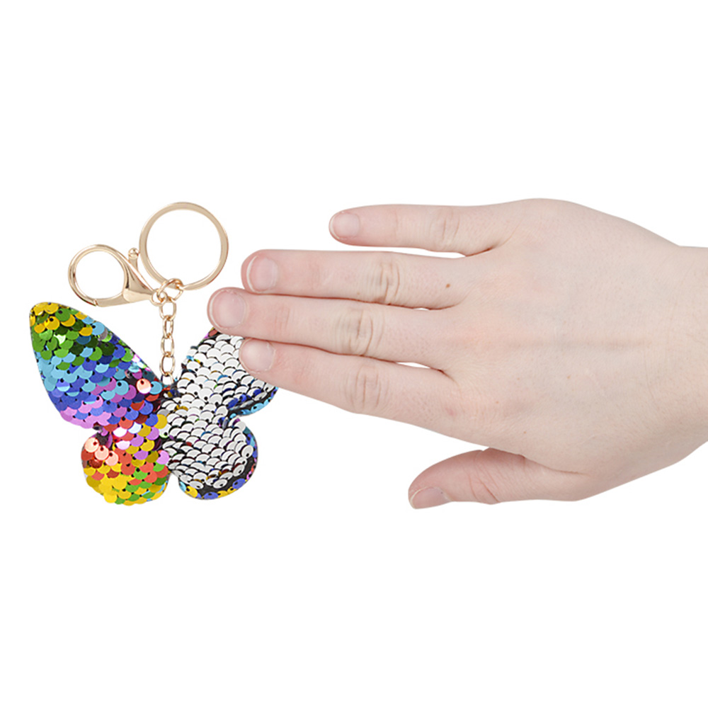 butterfly sequin keychain